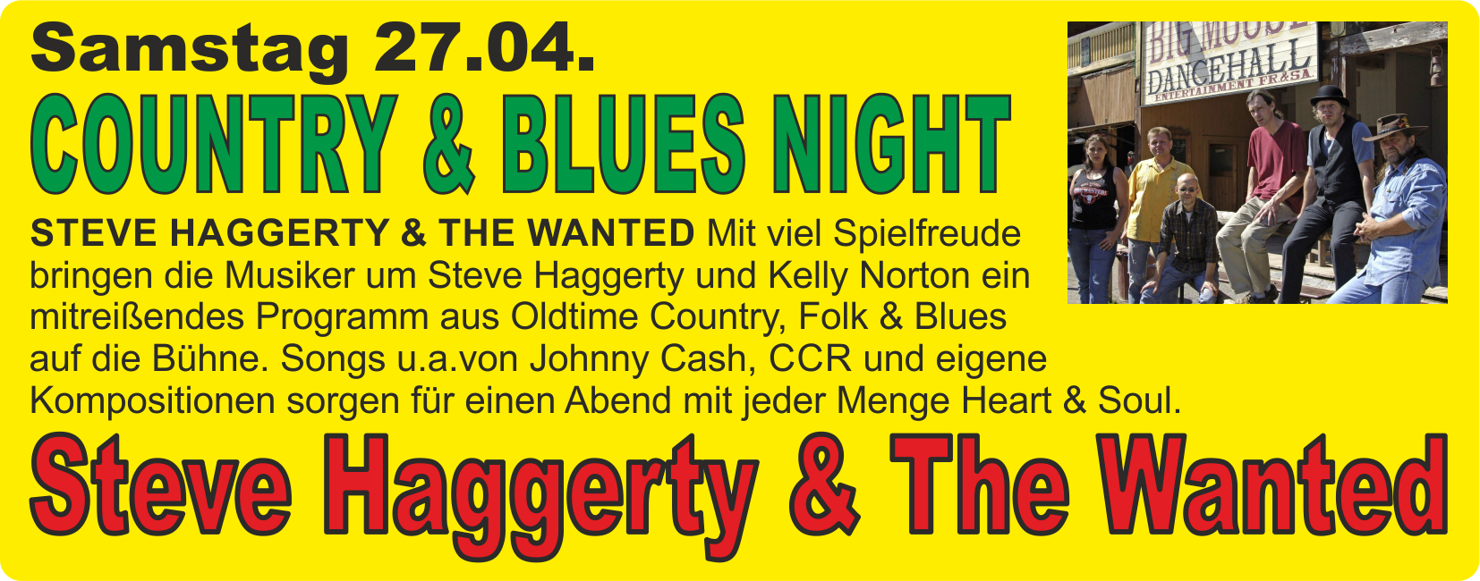 Country & Blues Night mit Steve Haggerty & the Wanted @ Harz Mountain Ranch | Bad Lauterberg im Harz | Niedersachsen | Deutschland